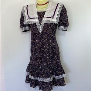 Gunne Sax Floral Lace Prarie Dress Euc Vtg 12